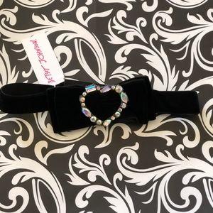 Betsey Johnson Crystal Black Velvet Bow Choker